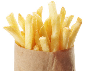Potato - french fries on a white background.