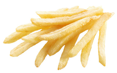 Potato - french fries on a white background. Clipping paths.
