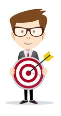 Successful businessman or teacher holding a target with arrow