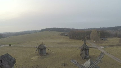 Aerial view of the old traditional Ukrainian mills and old