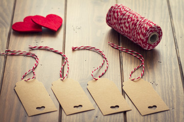 Valentine's day. Tags, red hearts, red & white baker's twine