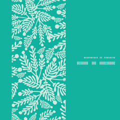 Vector emerald green plants vertical frame seamless pattern