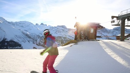 Ski Station on mount over Engelberg on the Swiss alps.