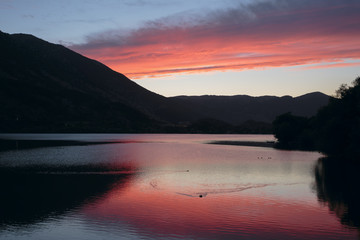 sunset on Lake Scanno
