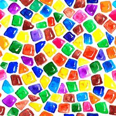 Watercolor seamless mosaic pattern