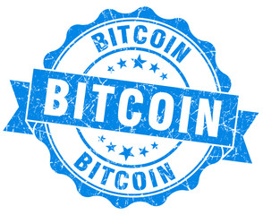 bitcoin blue vintage isolated seal