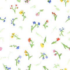 Seamless pattern of watercolor flowers. Vector
