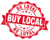 buy local be loyal red vintage isolated seal poster
