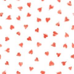 Seamless watercolor pattern with hearts. Vector