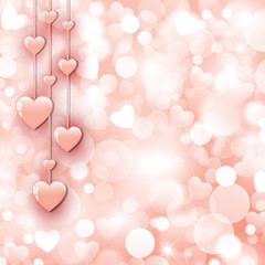 Background with beautiful pink hearts