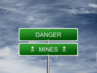 Danger Mines Warning Sign