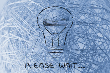 Please wait: lightbulb with progress bar inside, innovation and