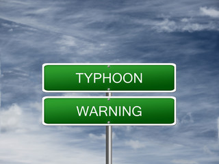 Typhoon Warning Alert Sign