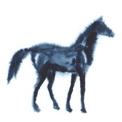 Wet watercolor horse. Vector