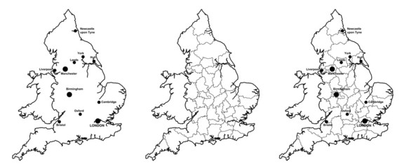 Maps of England with and without counties and major cities