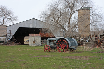 vintage tractor on a farm