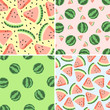 Four watermelon design. Hand drawn background