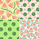 Four watermelon design. Hand drawn background
