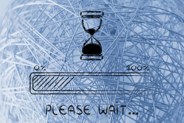 please wait hourglass illustration with progress bar