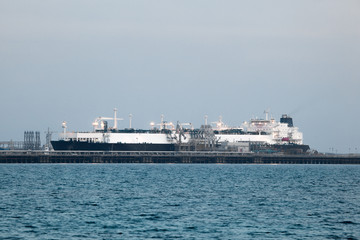 Tanker ship in the port of Kuwait, Middle East