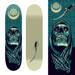Skull Praying on Skatedeck Template