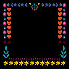 nature hearts flowers dots frame decorative border design