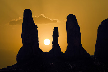 famous sandstone Rocks called Three Sisters Butte in monument va