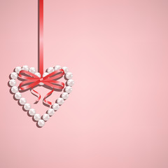 Pearl heart with bow