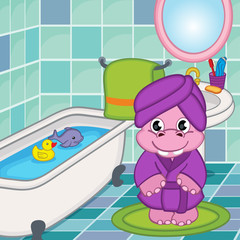 hippo girl in bathroom - vector illustration, eps