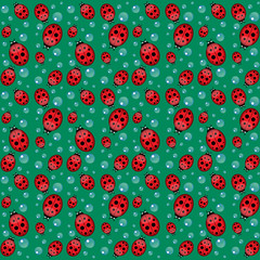 funny seamless pattern with ladybirds and water drops