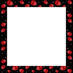 cheerful frame with ladybirds and water drops