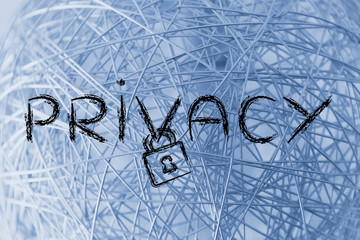 internet security, risks for privacy and confidential info, lock