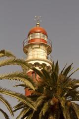 Leuchtturm vor Palmen