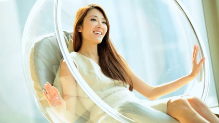 Happy Female Asian Chinese Interior Relaxation Modern Chair Home View