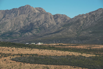 The Little Karoo semi desert with white house and mountains in t