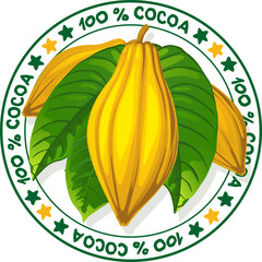 100 % cocoa - vector stamp