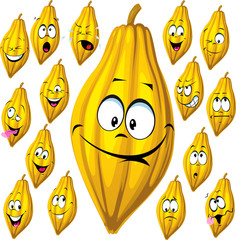 cocoa pod with many facial expressions isolated