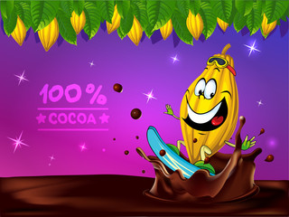funny chocolate vector design with cocoa pod