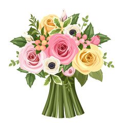 Bouquet of colorful roses and anemone flowers. Vector.
