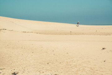 Bright sand dunes with male hiker on the horizon. Clear blue sky