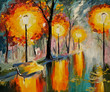 Oil painting of autumn street, art work - 76934581