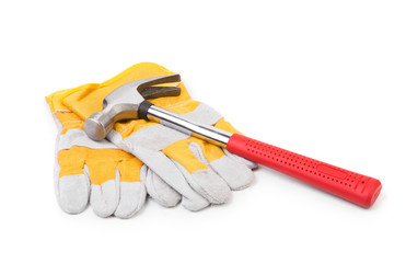 Construction gloves and hammer
