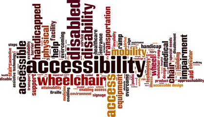 Accessibility word cloud concept. Vector illustration