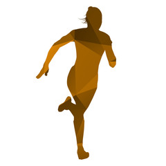 Abstract isolated orange running woman