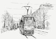 tramway in a big city - 76935372
