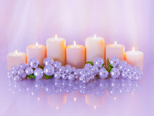 Romantic Candlelight centerpiece in icy pink and silver (P)