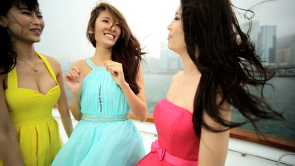 Laughing American Asian Chinese Girls Travel Leisure Tourism Yacht