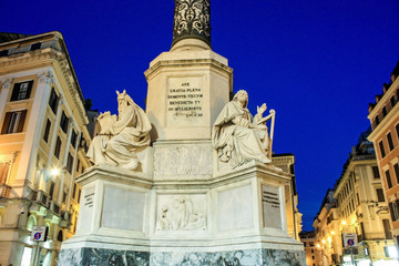 Biblical Statues of Monument at Spanian stairs Rome, Italy