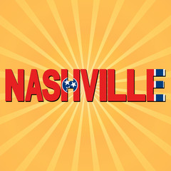 Nashville flag text with sunburst illustration