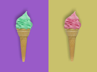 ice cream on colorful background